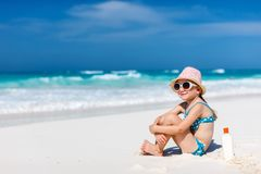 Cute little girl at beach. Portrait of cute little girl at tropical beach Stock Photography