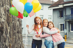 Portrait of cute little girls stock images