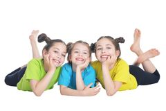 Portrait of cute little girls posing. Isolated on white background royalty free stock images