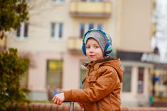 Free Portrait Cute Little Kid Boy Riding On Scooter. Children Actitvities Outdoor In Early Spring. Royalty Free Stock Image - 88883266