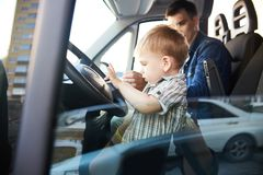 Little Boy on Front Seat Royalty Free Stock Photo