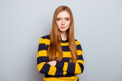 Portrait of cute lovely serious charming romantic pensive beautiful attractive with long healthy nice straight hair perfect ideal stock images