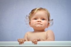 Cute baby girl. Portrait of cute 9 months old baby girl Royalty Free Stock Image