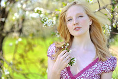Portrait of a cute natural girl outdoors Royalty Free Stock Images