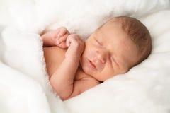 Portrait of cute newborn sleeping baby Stock Photography