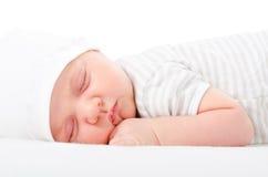 Portrait cute newborn sleeping baby royalty free stock photo