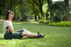 Portrait cute in park Royalty Free Stock Image