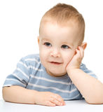 Portrait of a cute and pensive little boy Stock Photo
