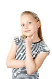 Portrait of a cute pensive little girl on white Stock Photography