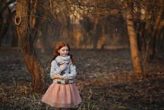 Portrait of a cute red-haired girl with freckles standing in an autumn or spring park or forest. Inspiration and dreams royalty free stock image