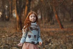 Portrait of a cute red-haired girl with freckles standing in an autumn or spring park or forest stock photo