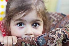 Portrait of cute sad little girl Royalty Free Stock Photos