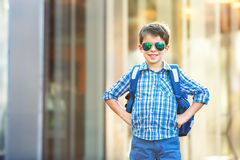 Portrait of cute school boy with backpack Stock Image
