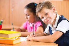 Portrait of cute schoolboy during lesson Royalty Free Stock Image