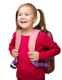 Portrait of a cute schoolgirl with backpack Royalty Free Stock Photo