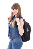 Portrait of cute schoolgirl with backpack isolated on white Stock Image