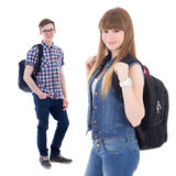 Portrait of cute schoolgirl and his boyfriend isolated on white Stock Photos