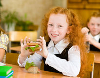 Portrait of cute schoolgirl with sandwich looking at camera in c royalty free stock photography