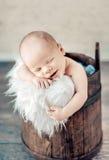Portrait of a cute sleeping newborn baby Stock Photo