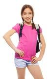 Happy schoolgirl with backpack Stock Images