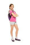 Nice and happy school girl with backpack Stock Image