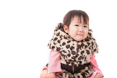 Portrait of cute smiling little girl isolated on white backgroun Stock Image