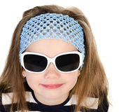 Portrait of cute smiling little girl in sunglasses isolated Stock Photo
