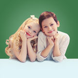 Portrait of cute smiling two children pupils Royalty Free Stock Images