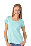 Portrait of cute smiling woman in turquoise T-shirt Stock Photos