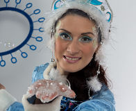 Portrait of cute snow maiden with soap bubbles Royalty Free Stock Photos