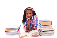 Portrait of cute student. On white background Royalty Free Stock Photography