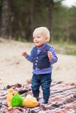 Portrait of cute stylish funny caucasian toddler boy royalty free stock image