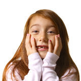 Portrait of cute surprised little girl Stock Photography