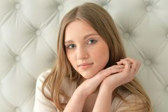 Portrait of cute teen girl. In casual clothing Royalty Free Stock Images