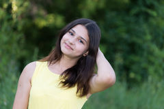 Portrait of cute teen girl outdoors in summer Royalty Free Stock Photo
