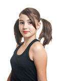 Portrait of cute teen girl with pony tails Royalty Free Stock Photo