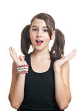 Portrait of cute teen girl with pony tails Stock Image
