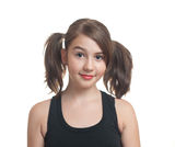 Portrait of cute teen girl with pony tails Royalty Free Stock Photography