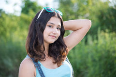 Portrait of a cute teen girl in summer Royalty Free Stock Photos