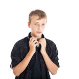 Portrait of a cute teenage boy with headphones Stock Photography