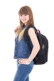 Portrait of cute teenage girl with backpack posing isolated on w Stock Photos