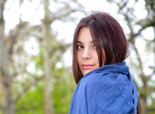 Portrait of cute teenage girl in spring park Stock Photos
