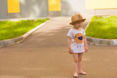 Portrait of a Cute Toddler girl in a funny hat Royalty Free Stock Image