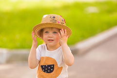 Portrait of a Cute Toddler girl in a funny hat Royalty Free Stock Photography