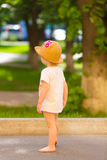 Portrait of a Cute Toddler girl in a funny hat Royalty Free Stock Photo