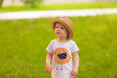 Portrait of a Cute Toddler girl in a funny hat Stock Photography