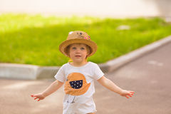 Portrait of a Cute Toddler girl in a funny hat Stock Images