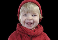 Portrait of a cute toddler with knitted hat Stock Photo