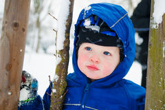 Portrait of cute toddler out in snow Royalty Free Stock Photos
