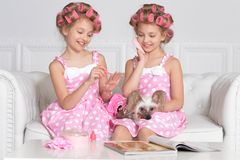 Portrait of cute tweenie girls with hair curlers sitting. Cute tweenie girls with hair curlers sitting with dog at home royalty free stock image